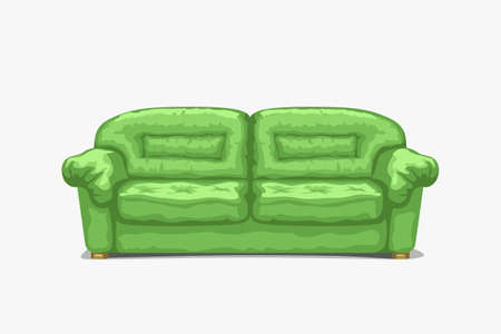 green classic couch front view on white Ilustracja