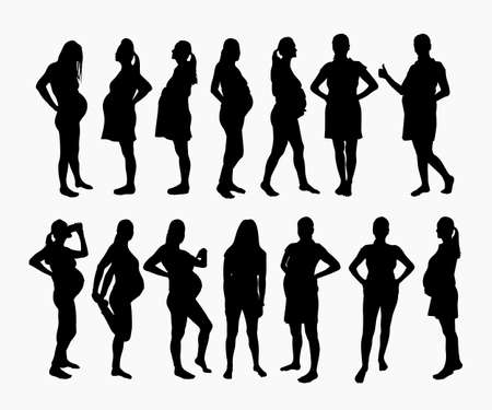 pregnant woman silhouettes in set on white