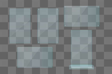 realistic transparent glass set on gray color