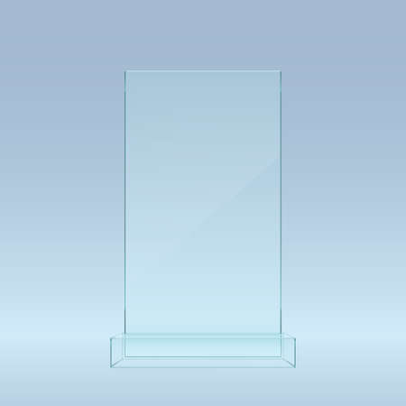transparent blue glass showcase on front view