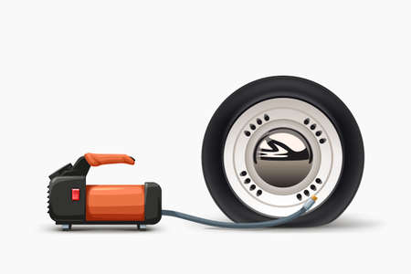 air pump inflating flat tire on white Ilustracja
