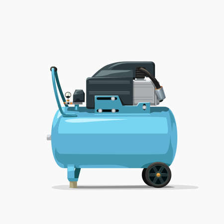 blue air compressor side view on white