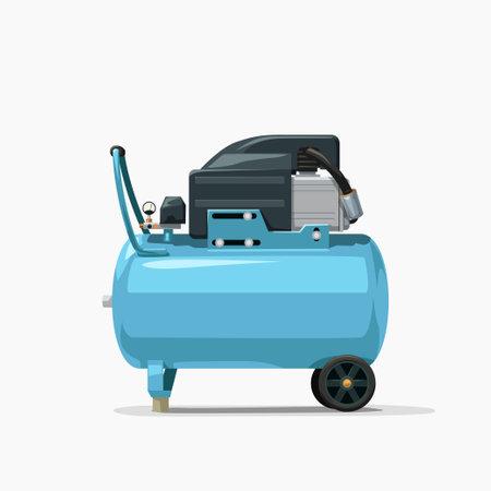 blue air compressor side view on white Zdjęcie Seryjne - 164503472