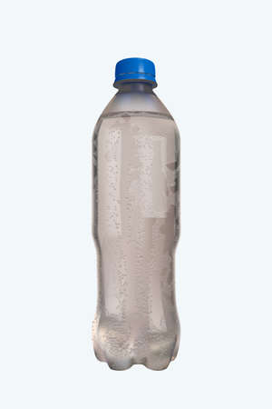 bottle of water with waterdrops on white
