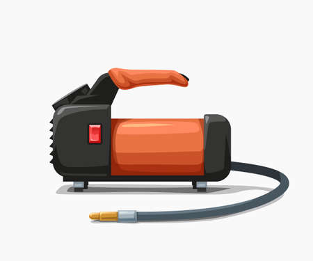 car air pump orange color on white Ilustracja