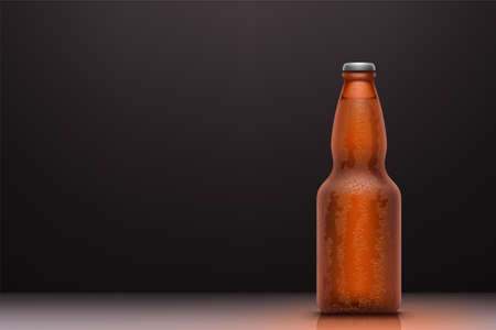 cold brown beer bottle with water drops