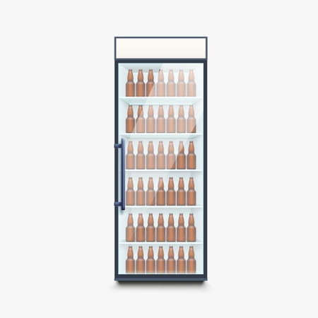 fridge full of beer bottles on white Ilustracja
