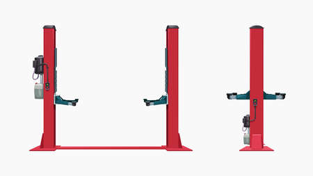 front and side view red car lift Ilustracja