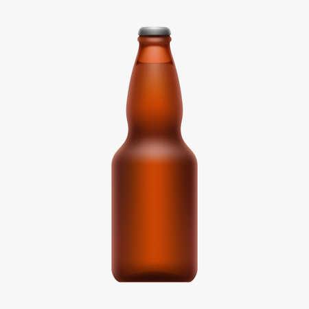 full brown beer bottle isolated on white Zdjęcie Seryjne - 164504578