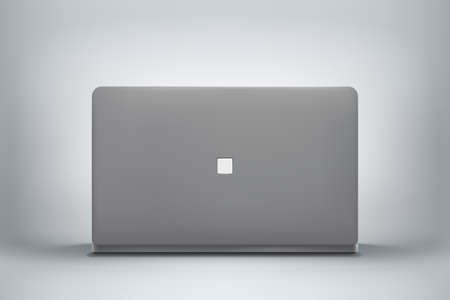 gray color modern laptop back front view Ilustracja
