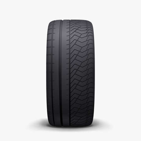 merged seasons front view realistic car tire Ilustracja