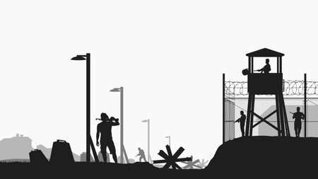 military base black color silhouette on white