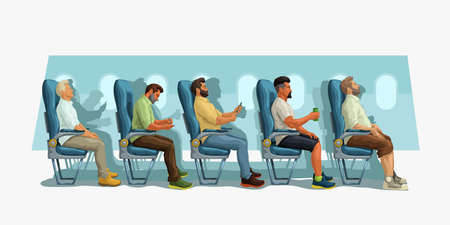 passengers sitting on their seats side view Ilustracja