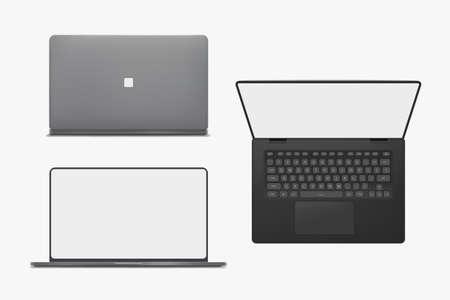realistic laptop set isolated on white back