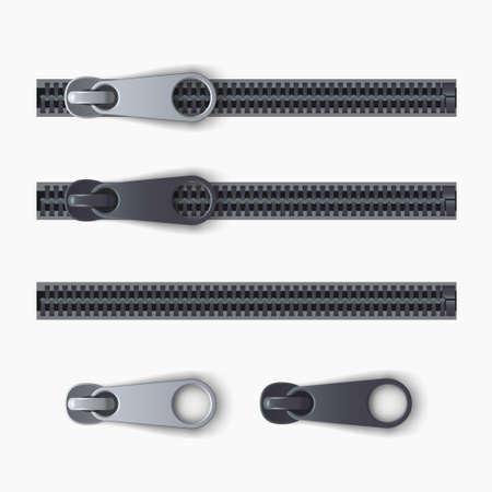 realistic zipper set isolated on white back Zdjęcie Seryjne - 164504586