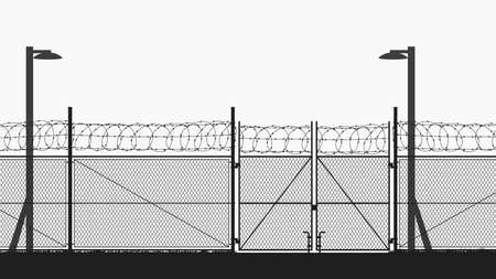 restricted area with chain fence on white Ilustracja
