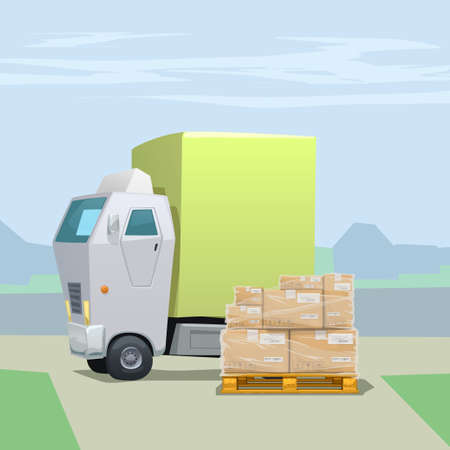 white delivery truck with parcels on pallet