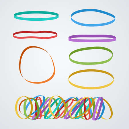colorful rubber bands in set on white