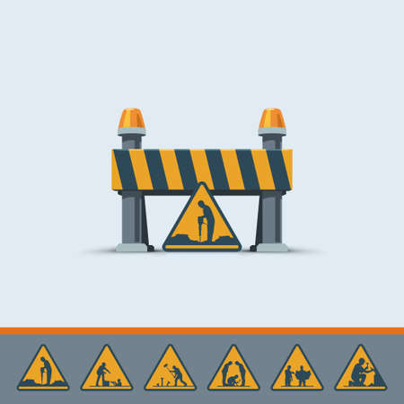 cute under construction road signs template
