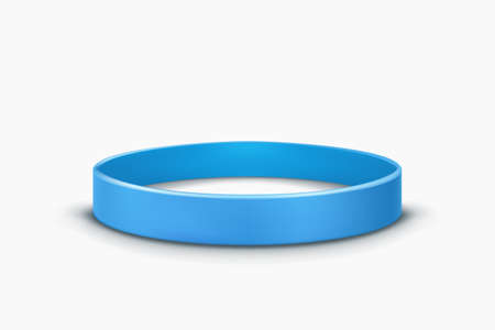 blue rubber band lying on white back