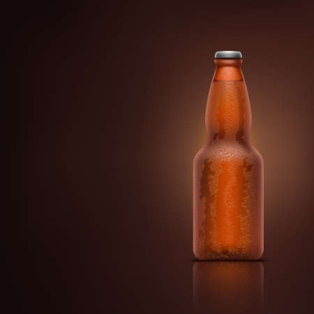 beer bottle with water drops on dark