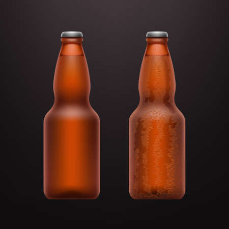 couple realistic beer bottles on dark back