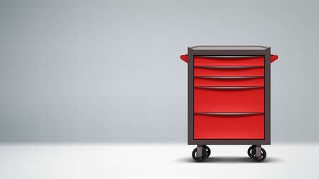 red color metal tools cabinet on gray