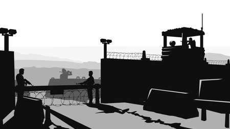 military base with soldiers in silhouette style