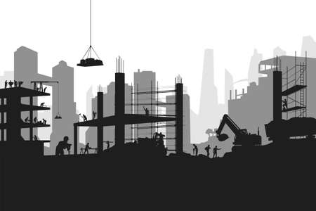 silhouette builders at work on big construction Ilustracja