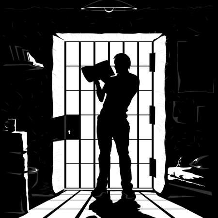 prisoner silhouette reading in cell black color Vecteurs