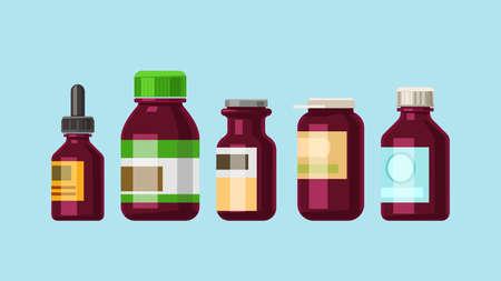 various brown medicine bottles shapes in set