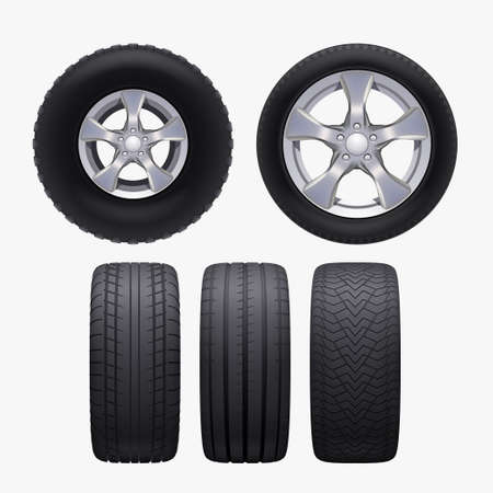 various realistic car wheels isolated in set Ilustracja