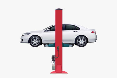 white vehicle on car lift side view Ilustracja