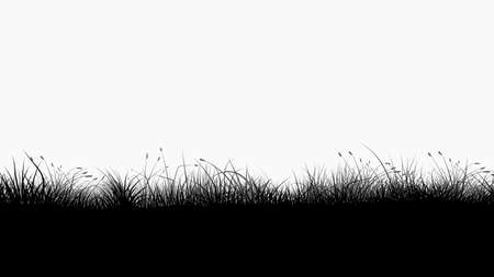 black color silhouette grass seamless on white background