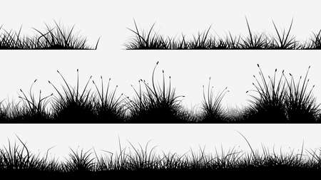 black grass silhouettes in set on white background