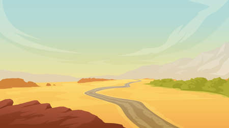 hot desert landscape with road on sand