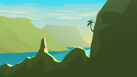island green color mountain landscape at sunset Ilustracja