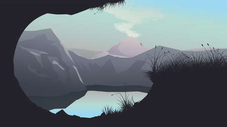 lake arounded mountains at sunset with reflect Ilustracja