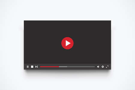 illustration of modern interface template for media player with transparent shadow on white background