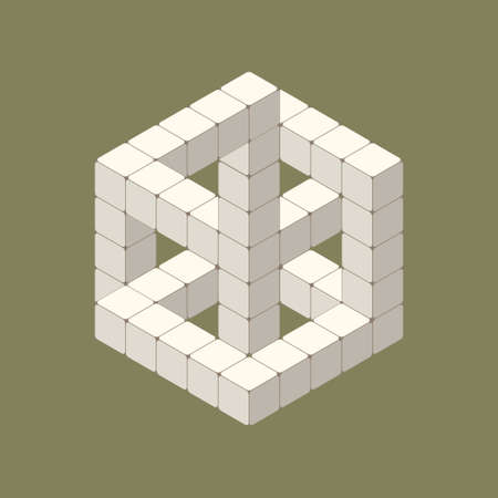 optical illusion white cube in isometric view Vector Illustratie