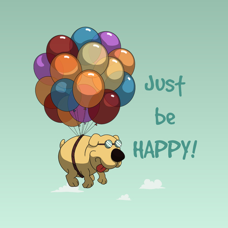 tagline: Funny cartoon dog flying with balloons design for tee, postcard Illustration