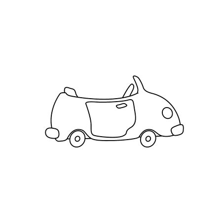 Cartoon car cabriolet coloring page for kids