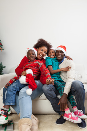 Happy family together for christmas