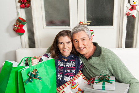 30 35 years: Couple with presents for christmas Stock Photo