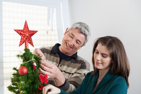35 40 years old: Couple putting together the christmas tree Stock Photo