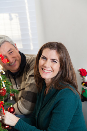 35 40 years old: Happy couple in christmas