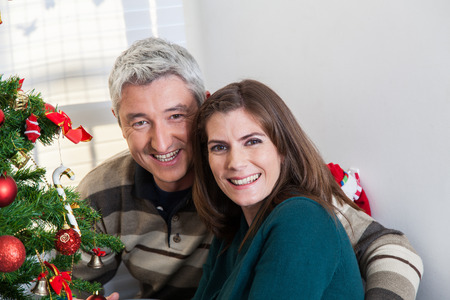 35 40 years old: Husband and wife at christmas