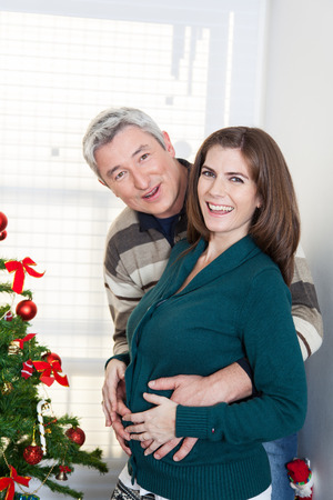 35 40 years old: Happy pregnant woman in christmas