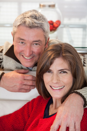 35 40 years old: Happy couple looking the camera