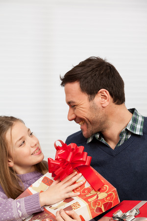 daugther: Happy father with his daugther